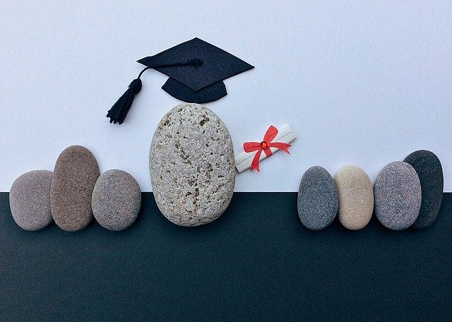 graduation with rocks